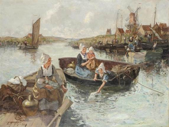 """2. """"A Dutch Washing Day"""" exhibited at the Royal Scottish Academy in 1914. Image courtesy of the-saleroom."""