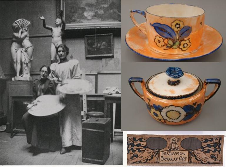 Ann Macbeth: Photograph (GSAA/P/1/1); China Tea Service (NMC/233); and GSA Banner (NMC/417).