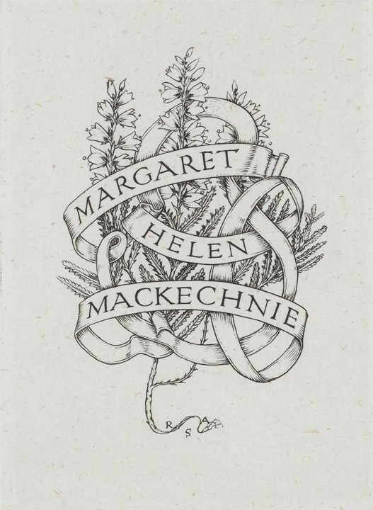 Bookplate created for Margaret by her friend and fellow printmaker Robert Sargent Austin circa 1949.