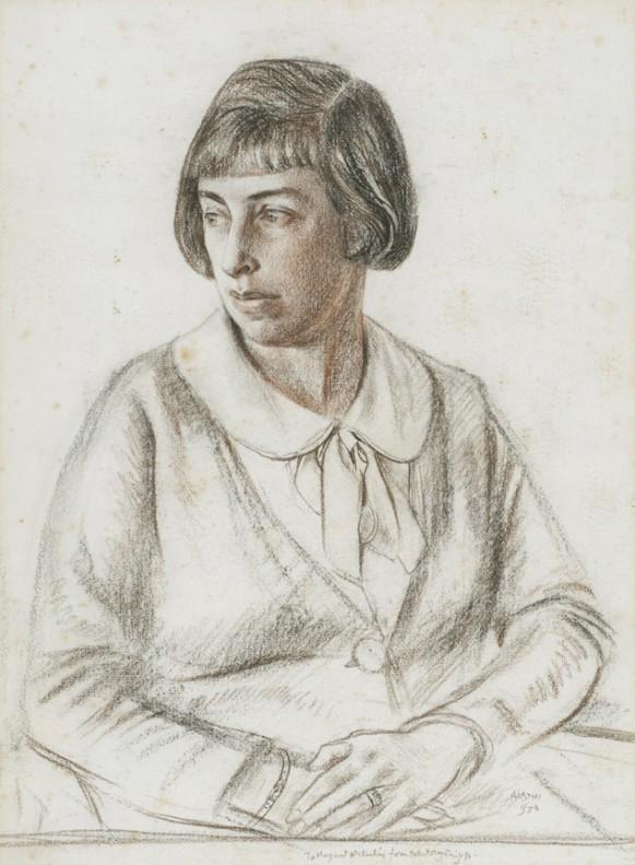 Portrait of Margaret Helen Barnard (Mackechnie) by Robert Sargent Austin, a leading printmaker of the era.