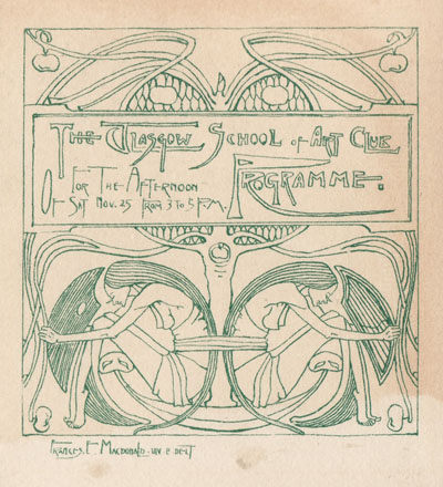 Design for a Glasgow School of Art programme by Frances Macdonald MacNair, 1893